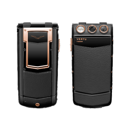 Vertu Ayxta Stainless. steel, red gold, black leather