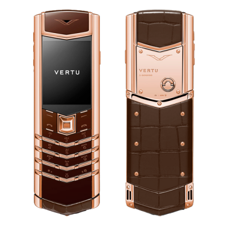 VERTU SIGNATURE S DESIGN COCOA ALLIGATOR RED GOLD (MTO)