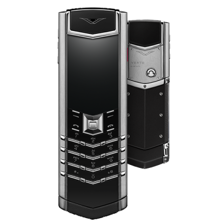 VERTU SIGNATURE S DESIGN STAINLESS STEEL BLACK LEATHER WITH RUBY