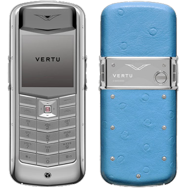 Vertu Constellation Polished stainless steel, ostrich leather sea green