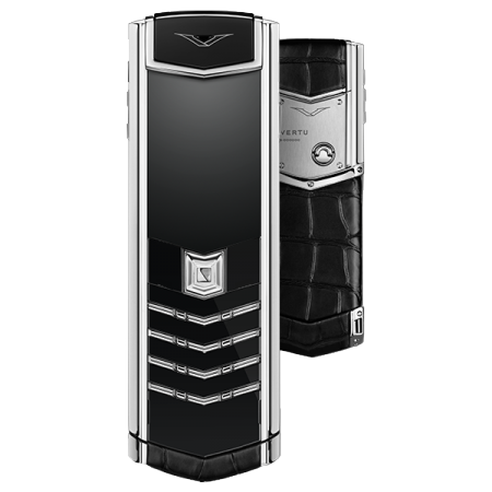VERTU SIGNATURE S DESIGN BLACK ALLIGATOR DIAMONDS STAINLESS STEEL