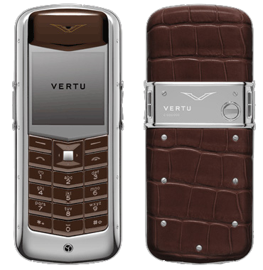 Vertu Polished stainless steel, brown alligator leather